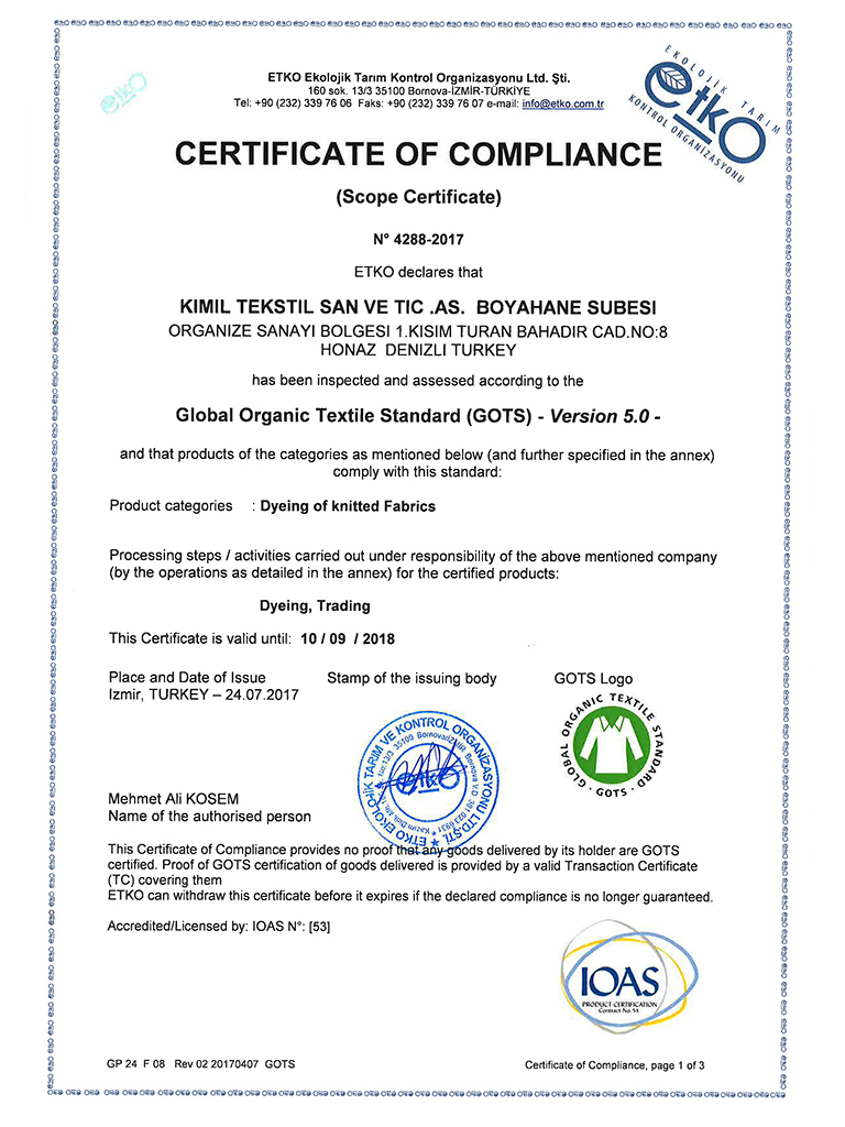 Kımıl Tekstil,quality, certificates